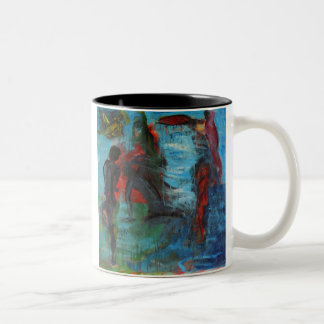 El estirar taza de café
