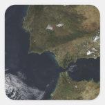 El Estrecho de Gibraltar Calcomanías Cuadradas Personalizadas