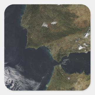 El Estrecho de Gibraltar Calcomanías Cuadradass