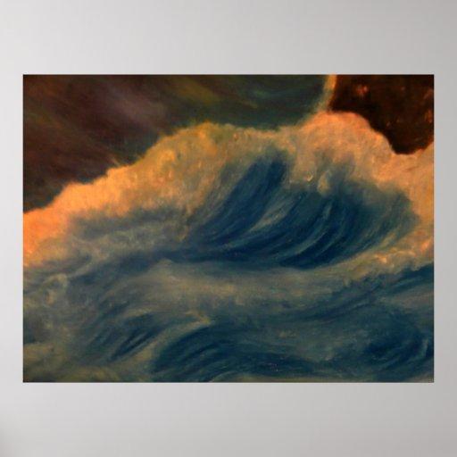 el estrellarse de las ondas poster