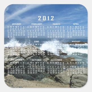 El estrellarse pacífico adentro; Calendario 2012 Pegatina Cuadrada