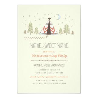El estreno de una casa dulce casero del tipi invitación 12,7 x 17,8 cm