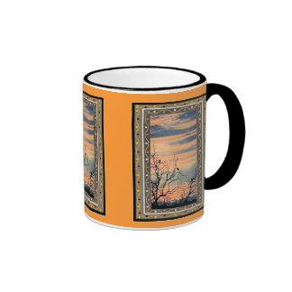 El estribillo de amanecer - arte africano taza a dos colores