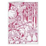 El estribillo de conejos canta al búho y al chica tarjetas