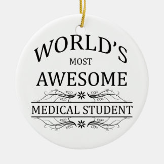 El estudiante de medicina más impresionante del adorno navideño redondo de cerámica