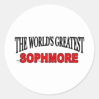 El estudiante de segundo año más grande del mundo pegatina redonda