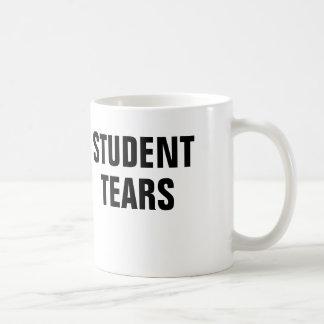 El estudiante rasga la taza