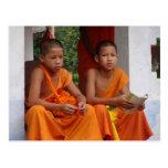 El estudiar de dos monjes del novato tarjeta postal