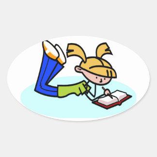El estudiar después de escuela pegatina de oval