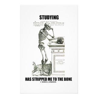 El estudiar me ha pelado al hueso (el esqueleto) papeleria