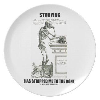 El estudiar me ha pelado al hueso (el esqueleto) plato de cena