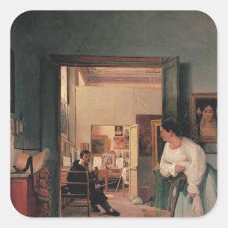 El estudio de Ingres en Roma Pegatina Cuadrada