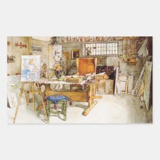 El estudio del artista pegatina rectangular