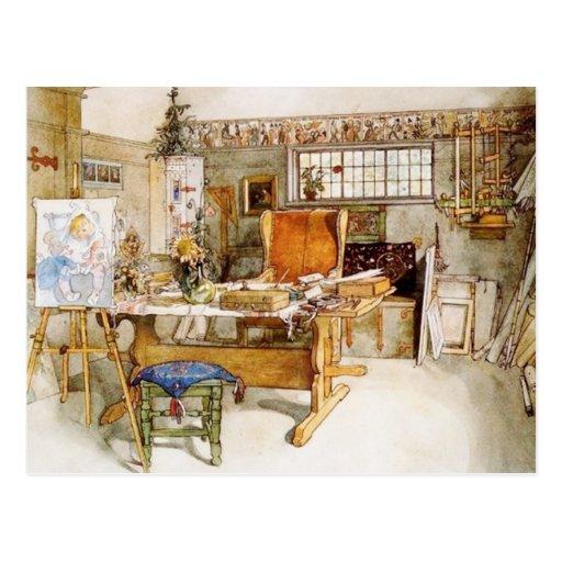 El estudio del artista postales