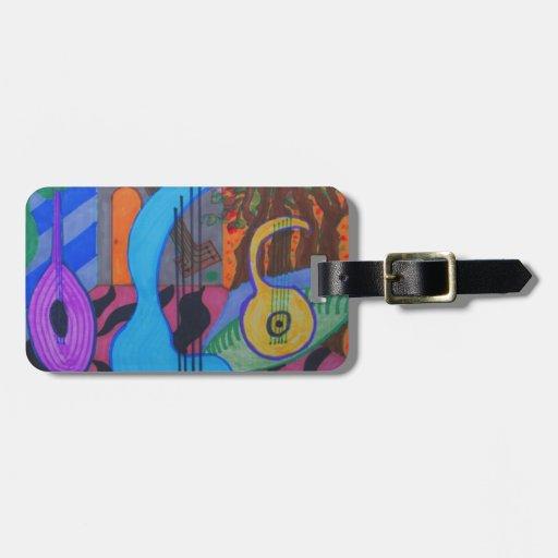 el estudio del músico etiqueta de equipaje
