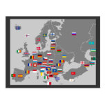 el euro señala la postal por medio de una bandera
