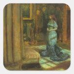 El Eve de la bella arte del St. Inés Pegatina Cuadrada