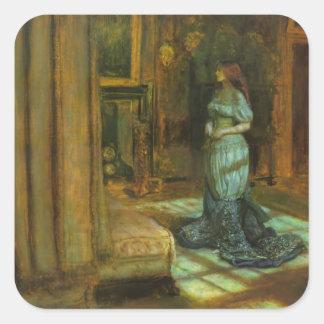 El Eve de la bella arte del St. Inés Pegatinas Cuadradas