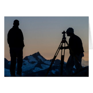El examinar en el Juneau Icefield (espacio en blan Tarjetón