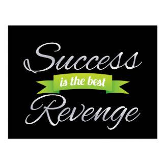 El éxito es el mejor verde de la venganza tarjeta postal