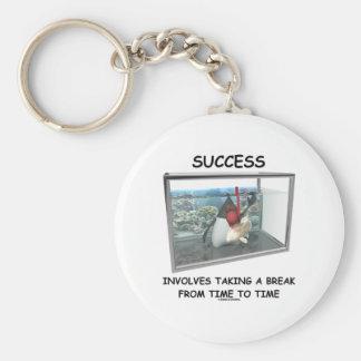 El éxito implica el tomar de una rotura de vez en  llavero
