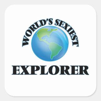 El explorador más atractivo del mundo calcomanía cuadrada