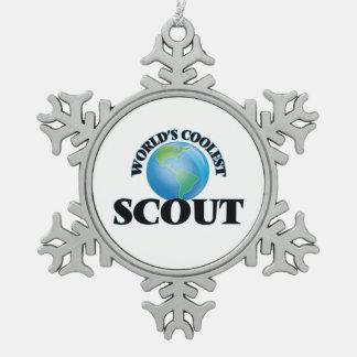El explorador más fresco del mundo adorno de peltre en forma de copo de nieve