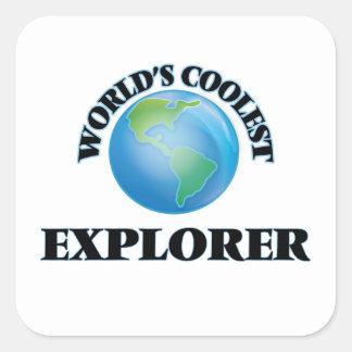 El explorador más fresco del mundo pegatinas cuadradas