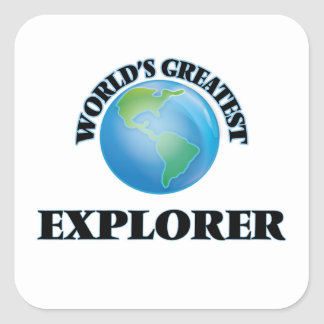 El explorador más grande del mundo calcomania cuadradas