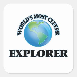 El explorador más listo del mundo calcomanía cuadradas personalizadas
