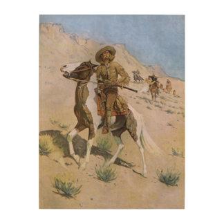 El explorador por Remington, vaqueros de la Impresión En Madera