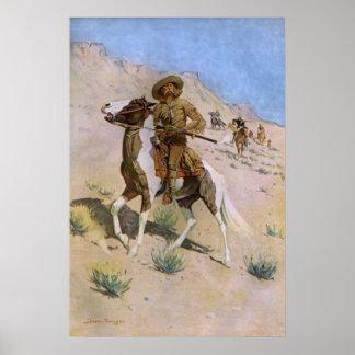 El explorador por Remington, vaqueros de la Póster
