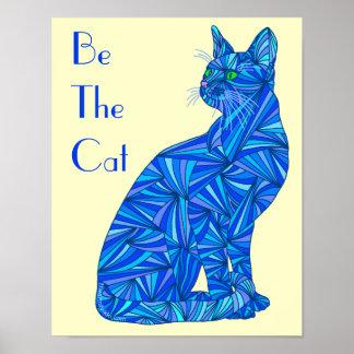 """El extracto azul sea el gato 8"""" x 10"""" impresión poster"""