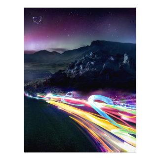 El extracto colorea el camino de la aurora boreal membrete personalizado