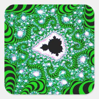 El extracto colorea gusanos verdes pegatina cuadrada