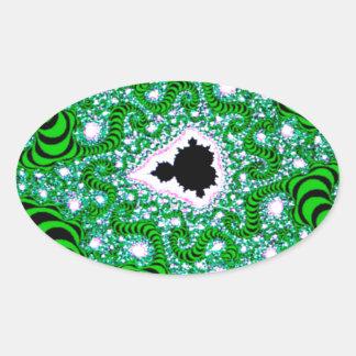 El extracto colorea gusanos verdes pegatina ovalada