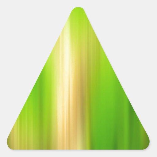 El extracto colorea un lado más verde pegatina triangular