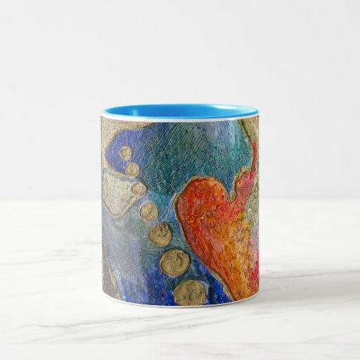 El extracto colorido texturiza arte tazas