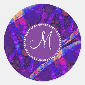 El extracto de encargo del monograma circunda el pegatina redonda
