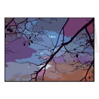 El extracto de la puesta del sol le agradece tarjeta pequeña