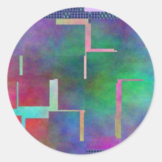 El extracto del arte de Digitaces del arco iris Pegatina Redonda