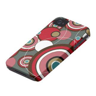 El extracto enrrollado rojo retro circunda la iPhone 4 Case-Mate fundas