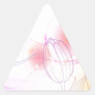 El extracto florece bosquejo caliente del tulipán pegatina triangular