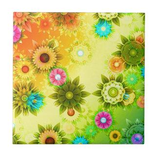 el extracto florece colorido azulejo cuadrado pequeño