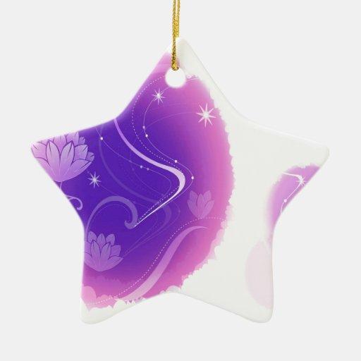 El extracto florece el agua púrpura Lillies Adorno De Cerámica En Forma De Estrella