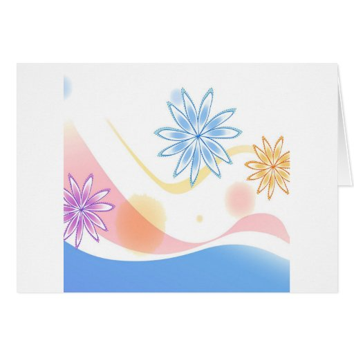 El extracto florece el arco iris blanco tarjeta de felicitación
