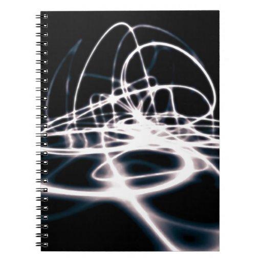 El extracto futurista curva el fondo note book