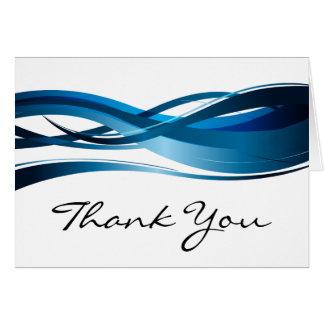 El extracto moderno de la onda azul le agradece tarjeta de felicitación