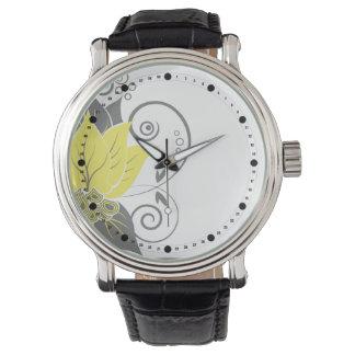 El extracto moderno se va (el gris amarillo) relojes de pulsera