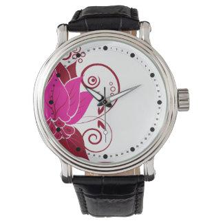 El extracto moderno se va (la baya del fuschia) reloj de mano